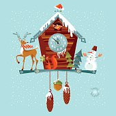 Christmas cuckoo clock with deer, squirrel and snowman.
