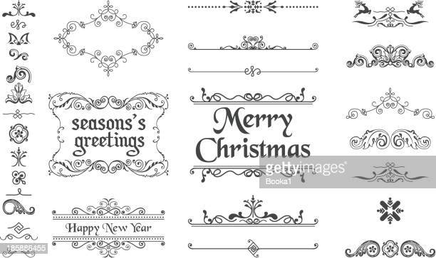 christmas decoration collection - victorian style stock illustrations