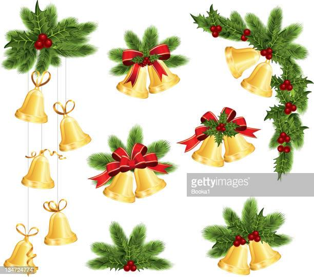 christmas decoration icons on a white background - chinese lantern lily stock illustrations