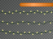 Christmas decoration lights effects Isolated transparent vector