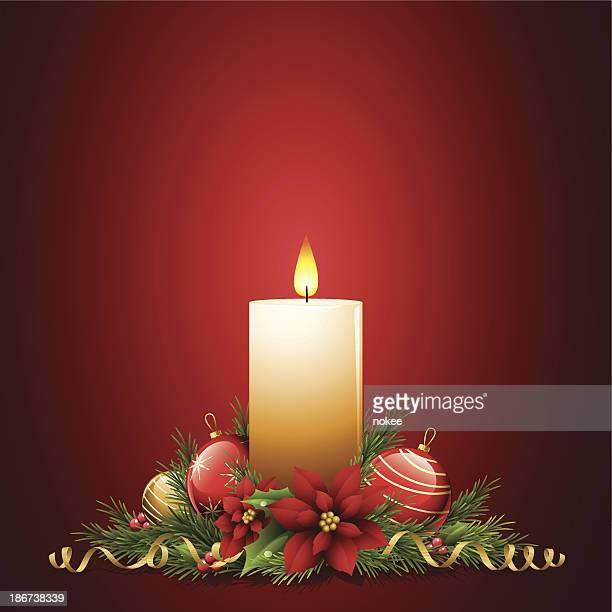 christmas decoration - candle stock illustrations, clip art, cartoons, & icons