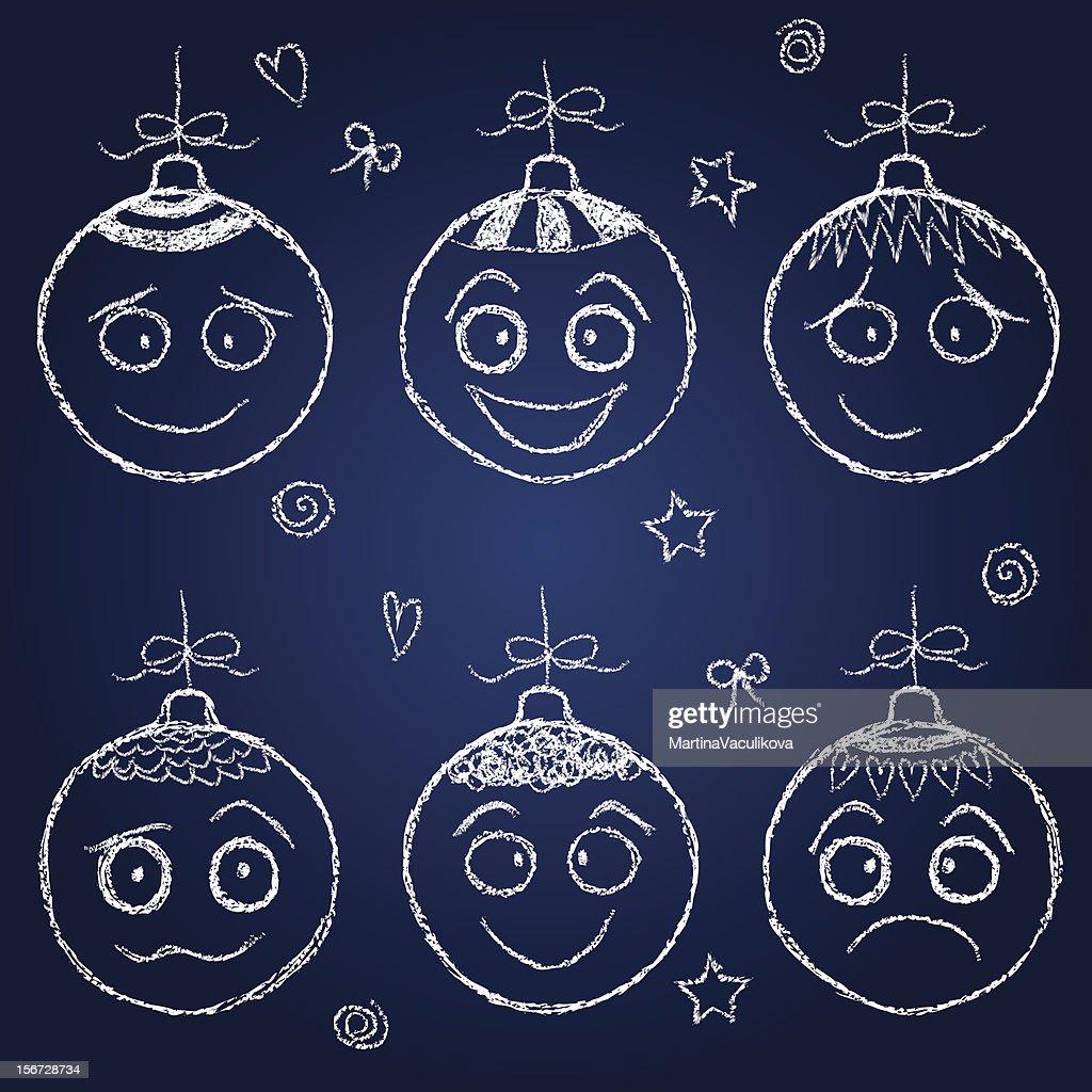 Christmas decorations  - chalk balls faces