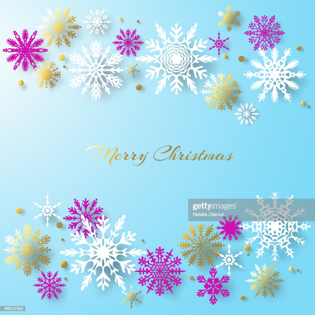 christmas decorations snowflakes set new year vector background celebration winter snow frame border gold