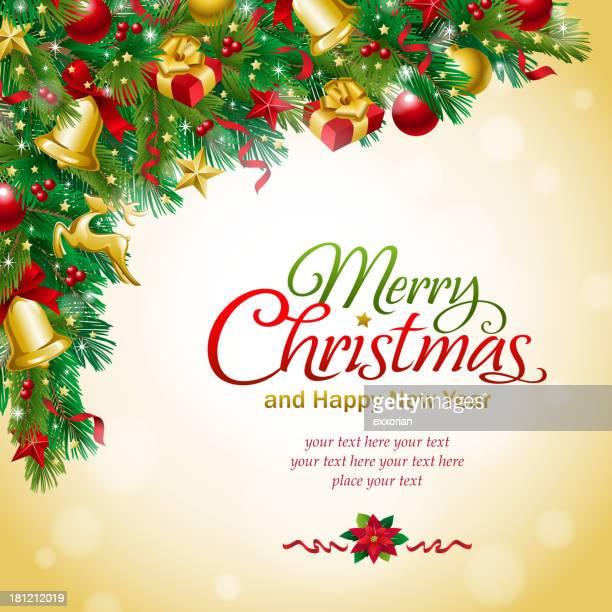 weihnachten dekoration text - tannenzweig stock-grafiken, -clipart, -cartoons und -symbole