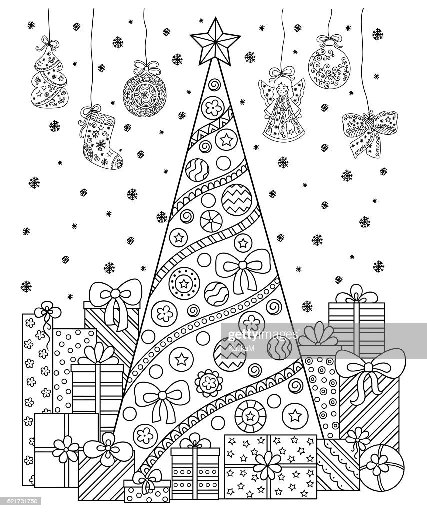 Christmas decorations, tree, gifts, snow. Ccoloring book for children, adults.