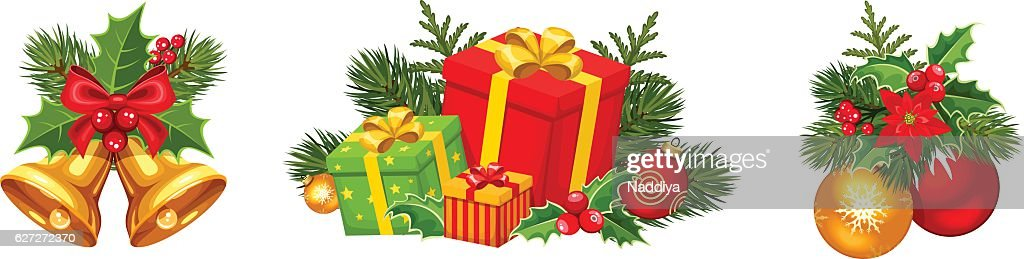 Christmas decorations with balls, bells and gift boxes. Vector illustration.