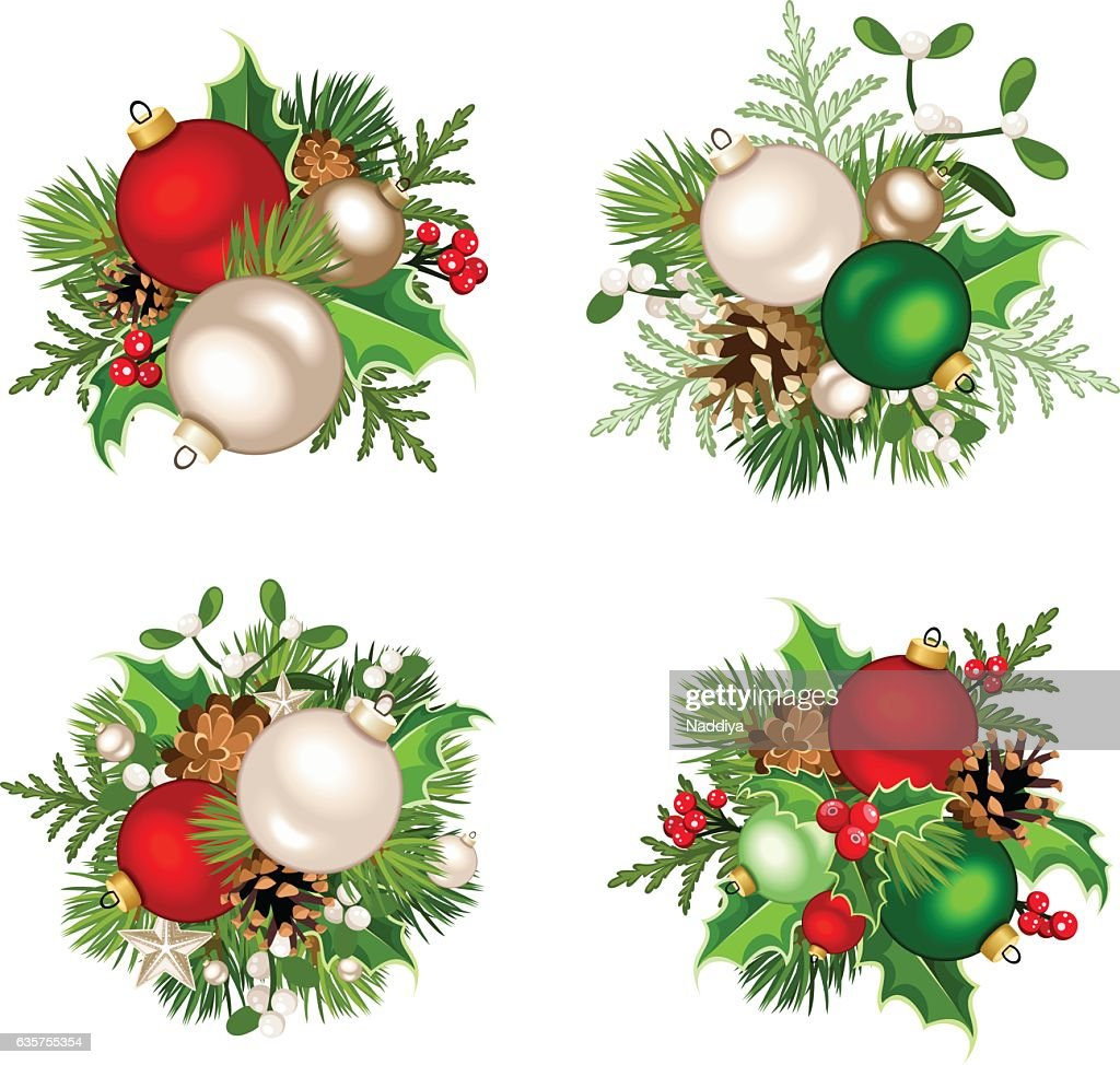 christmas decorations with red silver and green balls vector illustration vector art - Red Silver Christmas Decorations
