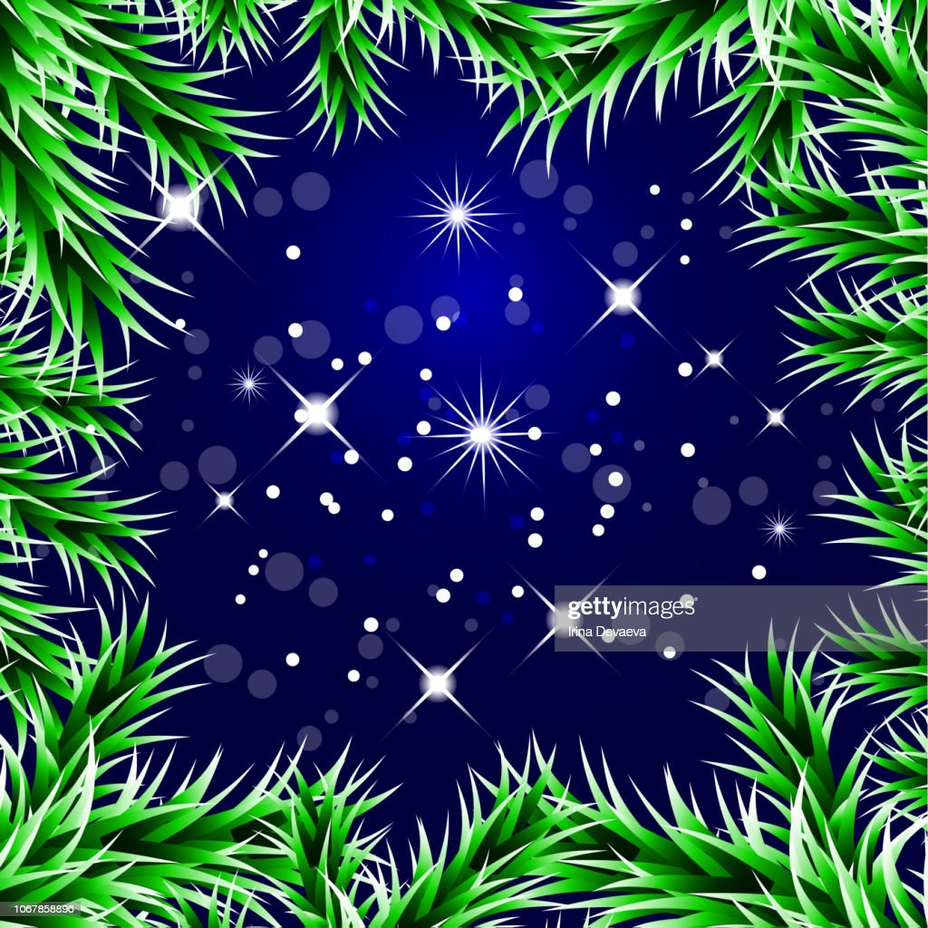 Christmas decorative background with green spruce branches, magic glare, snowflakes. Vector illustration EPS10