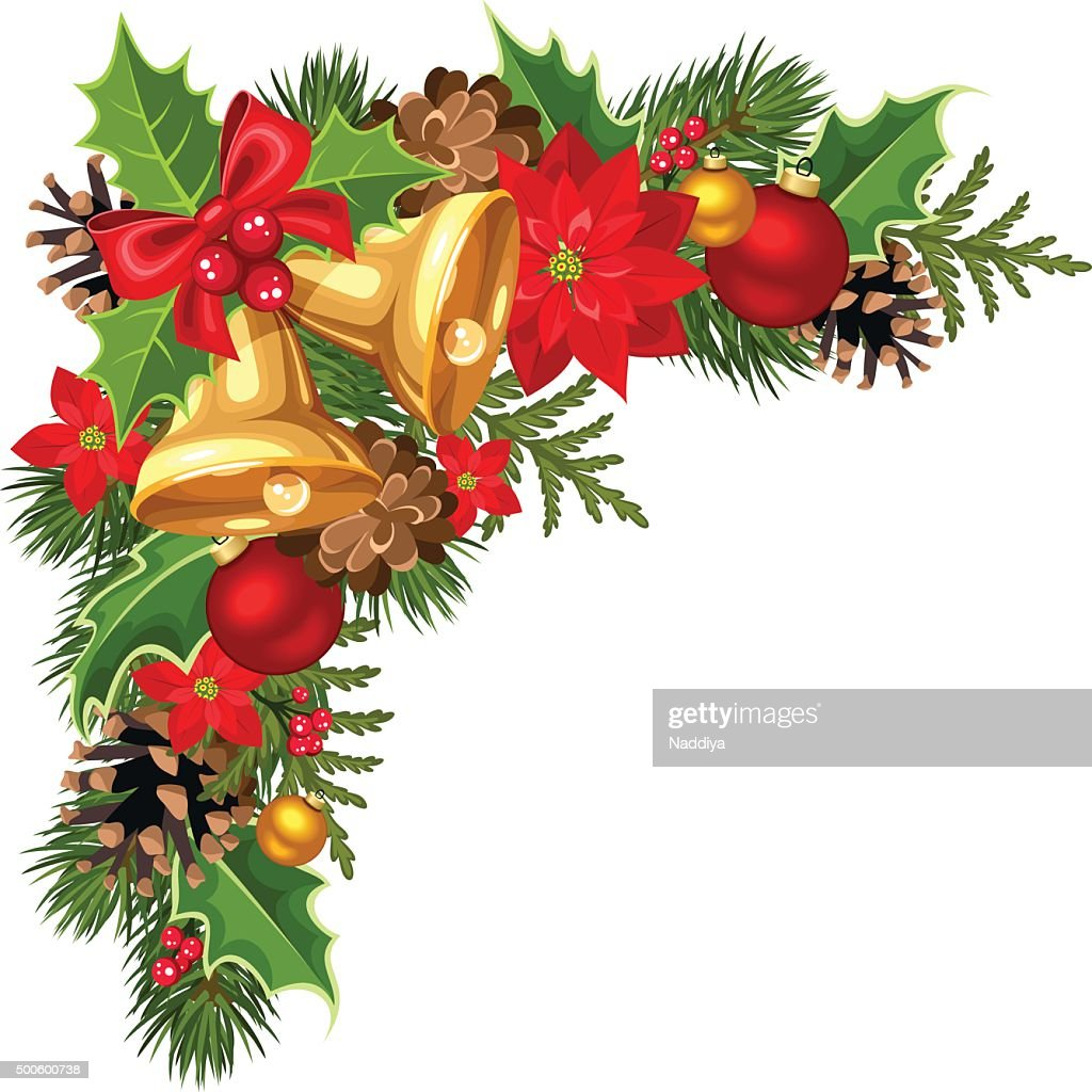 Christmas decorative corner with fir-tree branches, balls and bells. Vector.