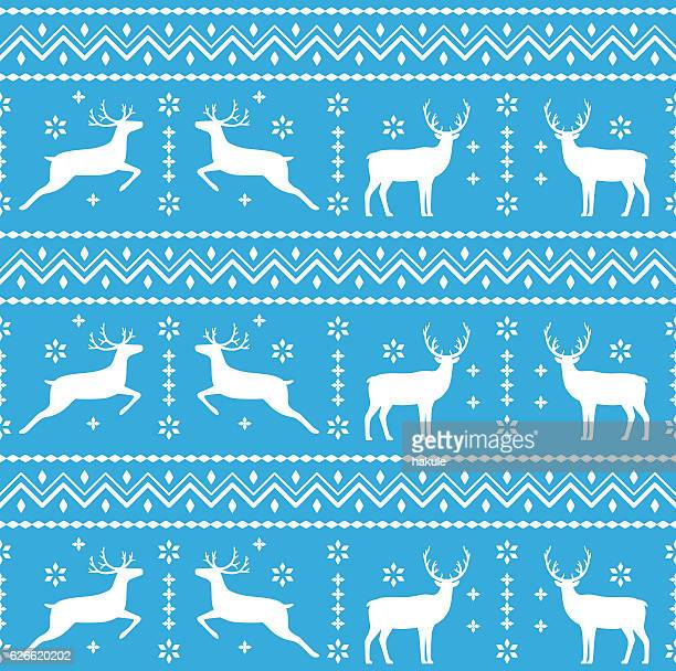 christmas deer and snowflake pattern seamless - sweater stock illustrations, clip art, cartoons, & icons