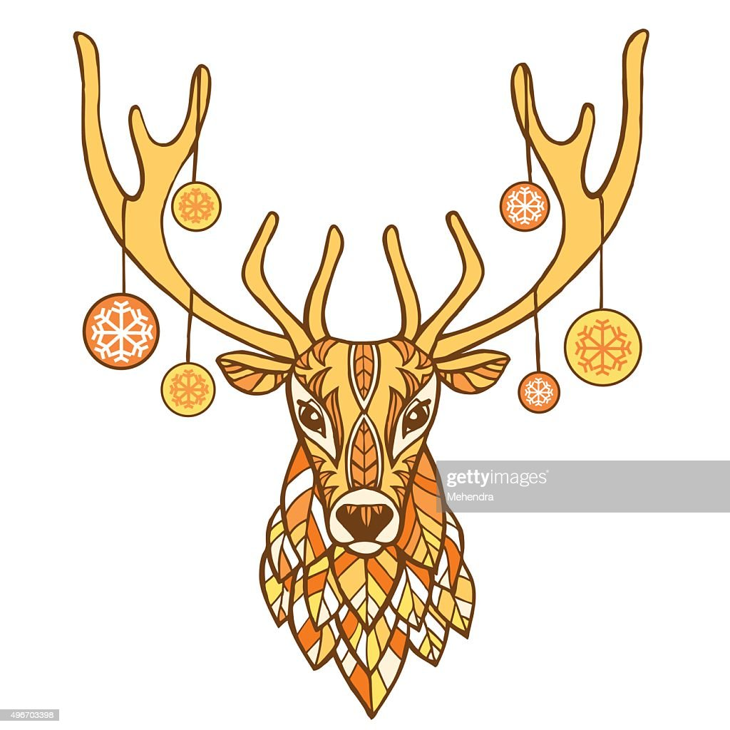 Christmas deer hand drawn vector illustration.  Christmas new year background.
