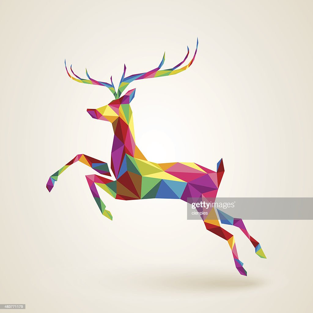 Christmas deer multicolor origami