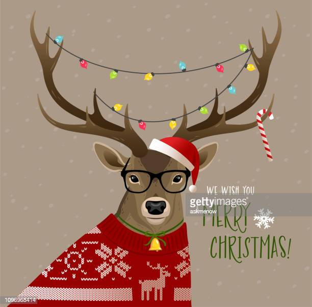 christmas deer - humor stock illustrations