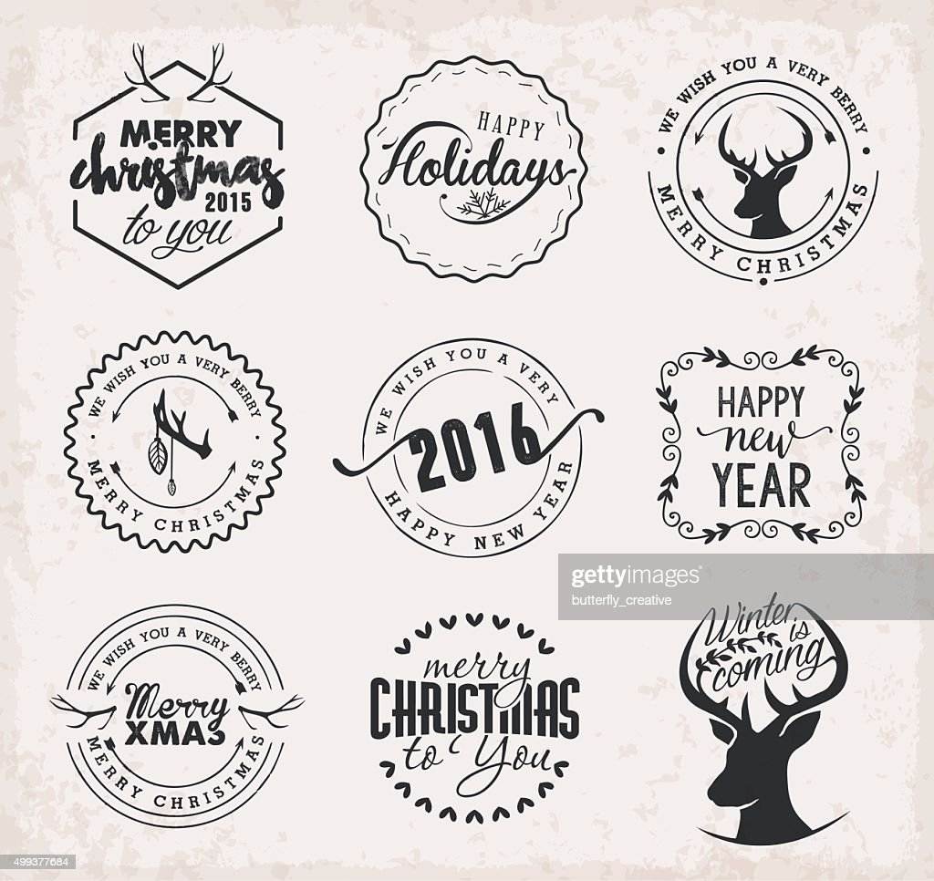 Christmas Design Elements, Badges and Labels in Vintage Style