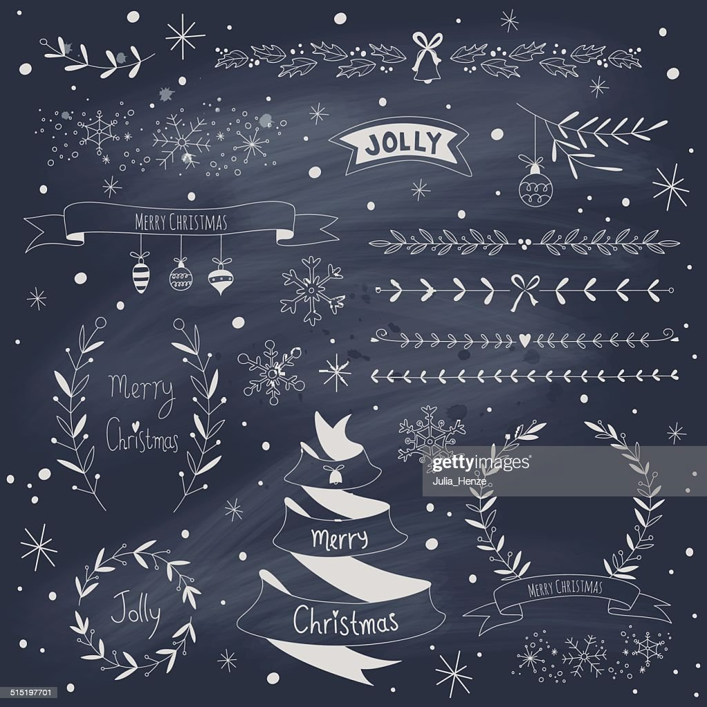 Christmas design elements set on blackboard
