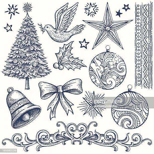 christmas design elements - bell stock illustrations
