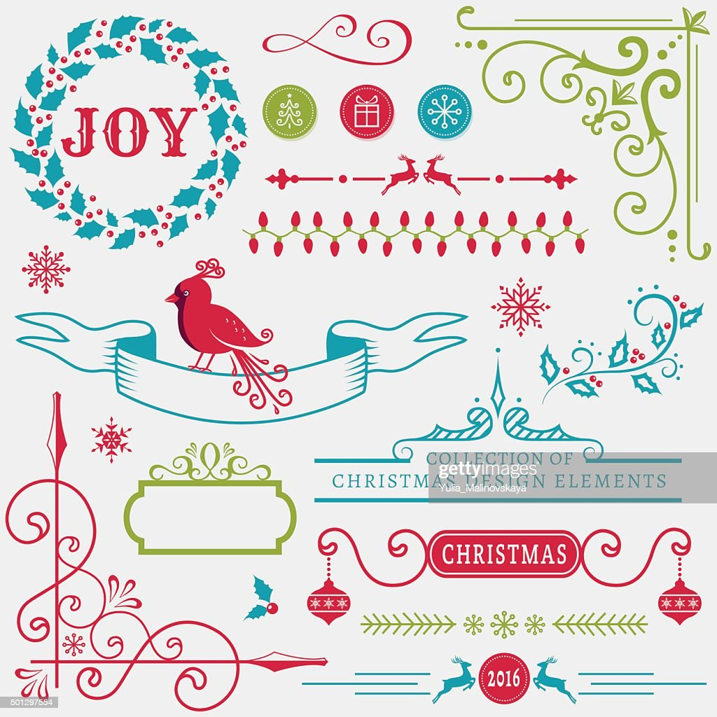 Christmas design elements. Vector set.