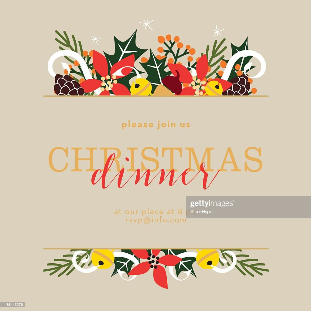 Christmas dinner invitation card on beige background