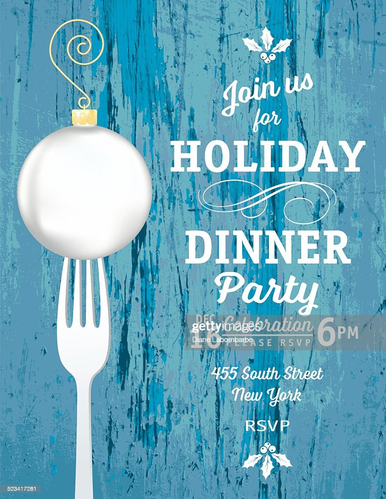 Christmas Dinner Invitation Template With Ornament And Fork Vector