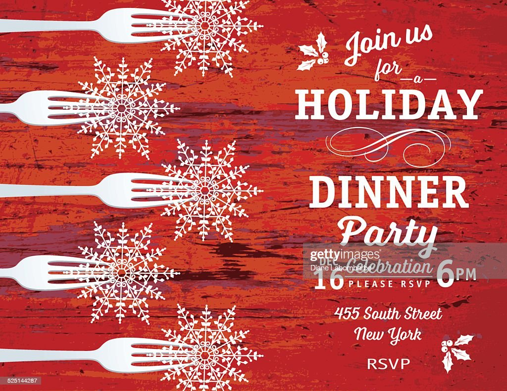 Christmas Dinner Invitation Template With Ornament And Fork Vector ...