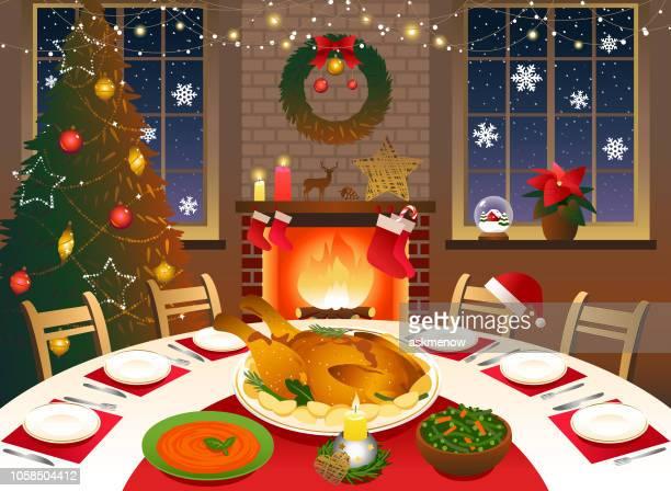 christmas dinner - tablecloth stock illustrations, clip art, cartoons, & icons