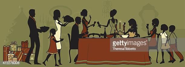 ilustraciones, imágenes clip art, dibujos animados e iconos de stock de cena de navidad - mesa de comedor