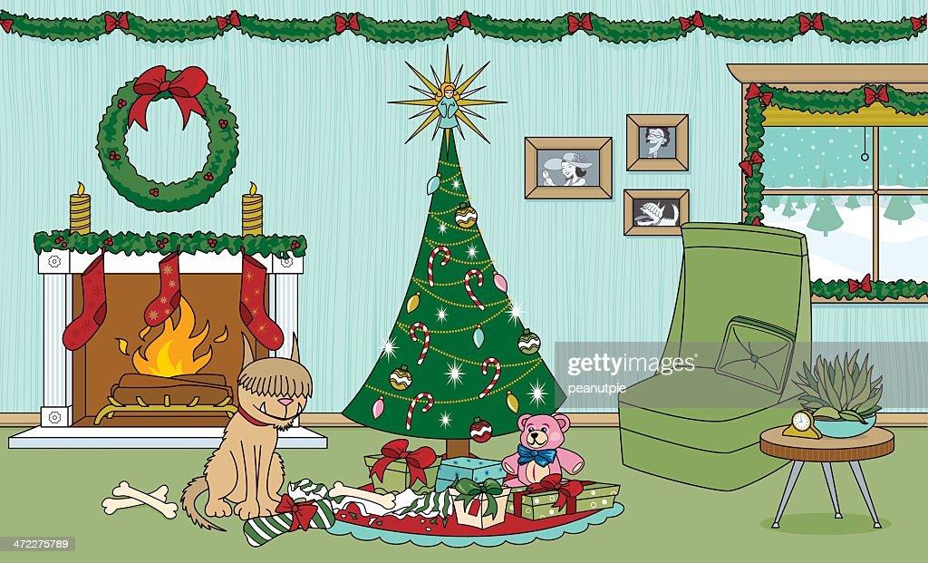 Christmas Dog Present : stock illustration