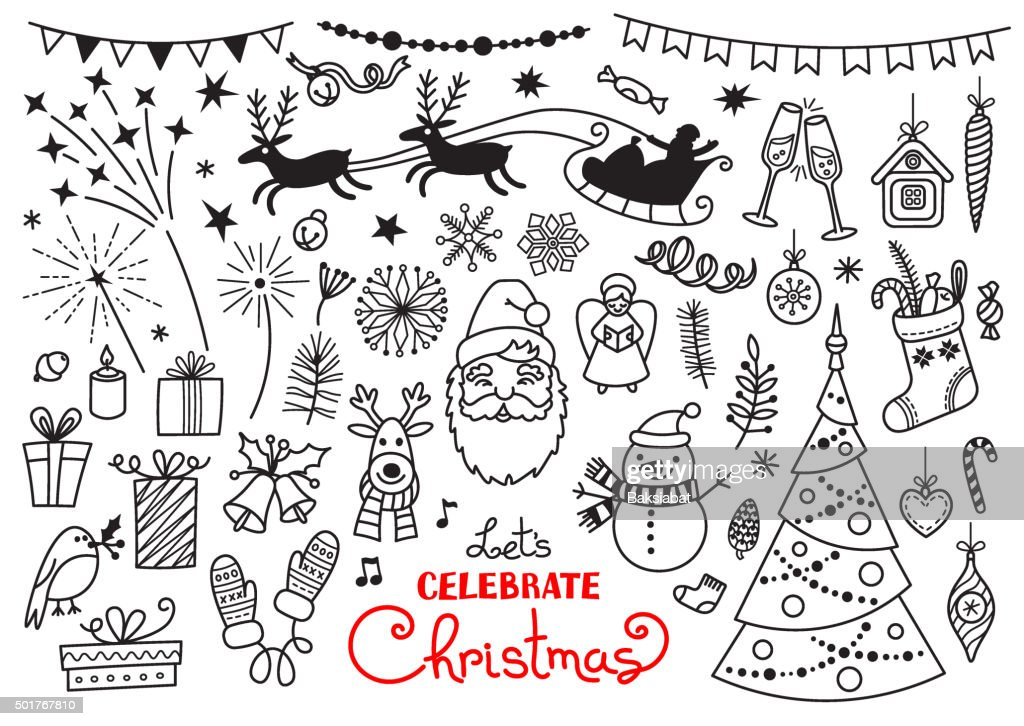 Christmas doodle set of characters and decorations. Freehand vector drawings