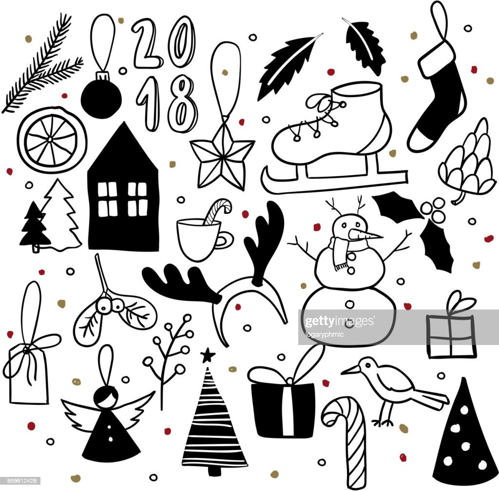 Christmas Doodles Hand Drawn Vector Icons Xmas And New Year Scrapbooking Sticker Snowman House Ice Skate Deer Horns Bird Angel Leaf Candy Cone Mistetoe Gift Tag Xmas Tree Decoration High Res Vector Graphic