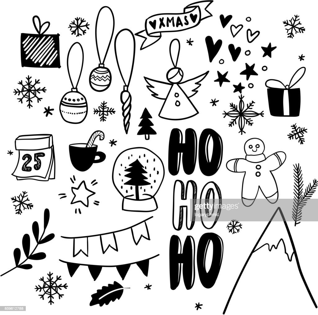 hand drawn vector icons xmas and new year scrapbooking stickers present snow globe mountain gingerbread cookie simple scandinavian style