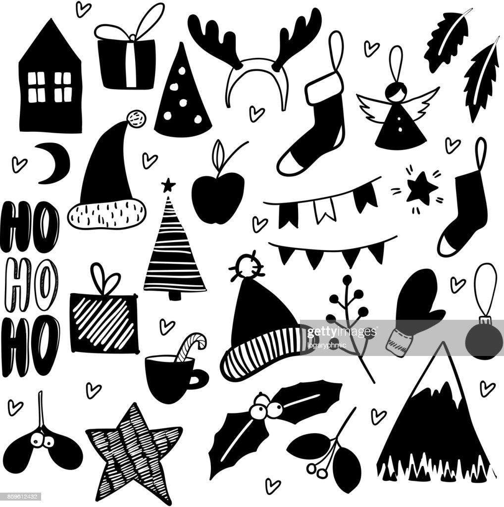Christmas Doodles Hand Drawn Vector Icons Xmas New Year Scrapbooking