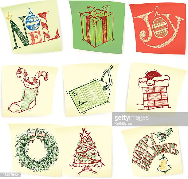 christmas doodles on post-its - holiday symbols - gift tag note stock illustrations, clip art, cartoons, & icons