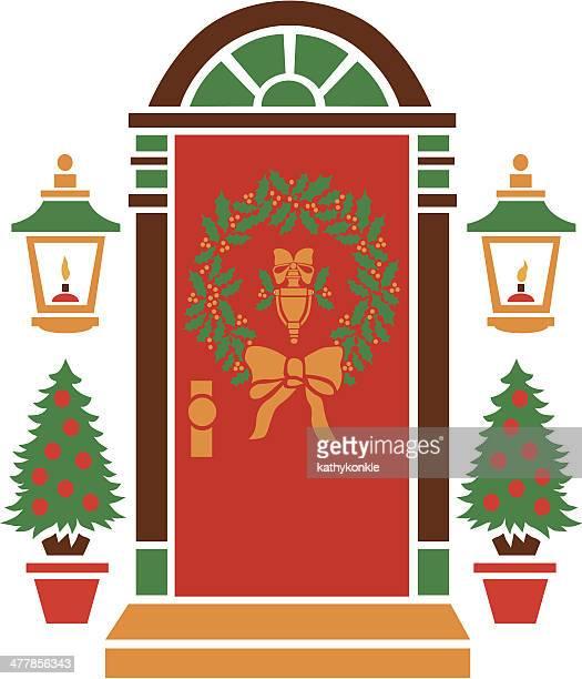 ilustraciones, imágenes clip art, dibujos animados e iconos de stock de entrada de navidad - decorar
