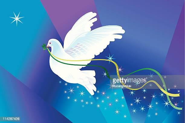 ilustraciones, imágenes clip art, dibujos animados e iconos de stock de dove de navidad - paloma blanca