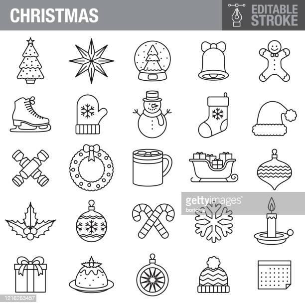 christmas editable stroke icon set - christmas decore candle stock illustrations