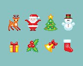 Christmas elements in Pixel-Art style