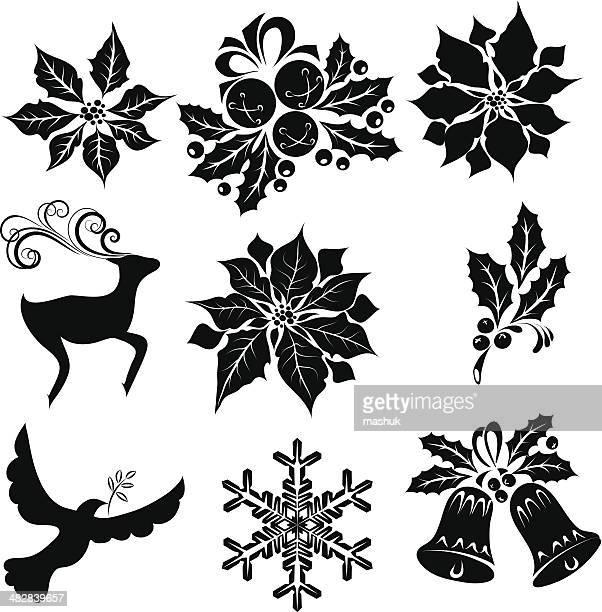 ilustraciones, imágenes clip art, dibujos animados e iconos de stock de elementos de navidad - flor de pascua