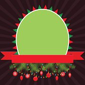 Christmas elements with green empty banner and red ribbon