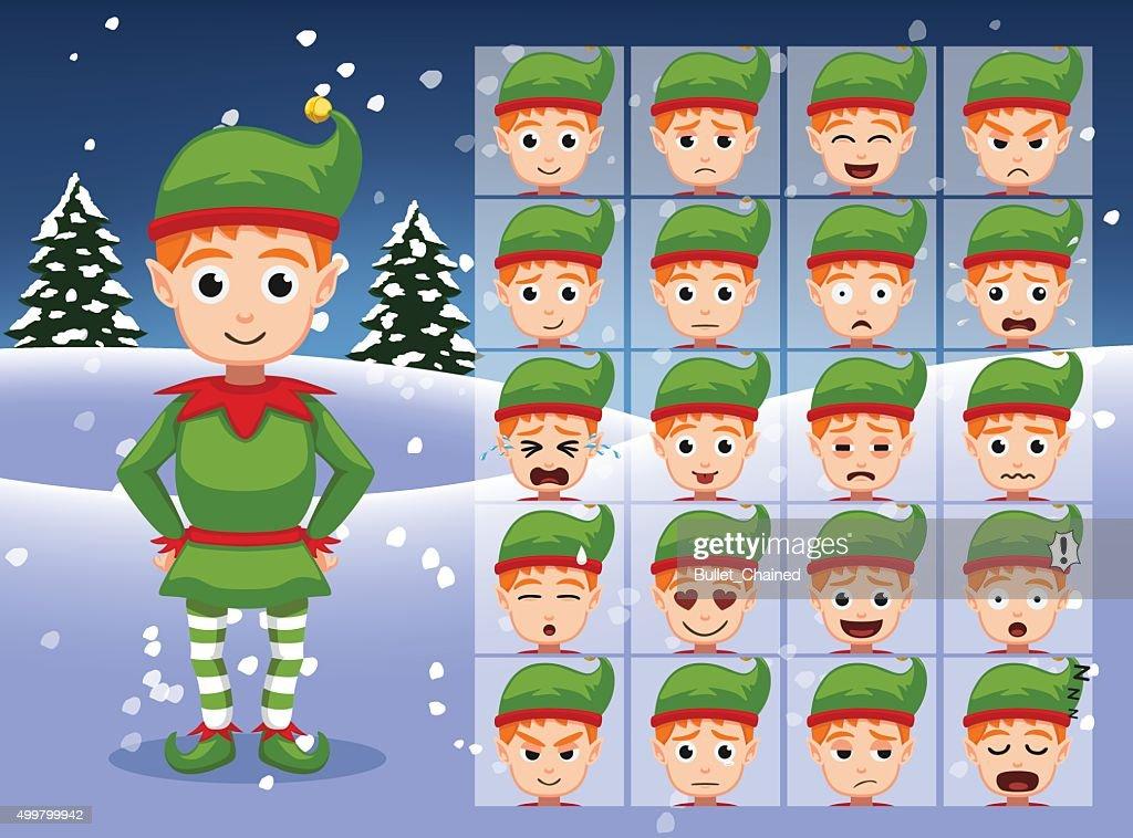 Christmas Elf Cartoon Emotion faces Vector Illustration