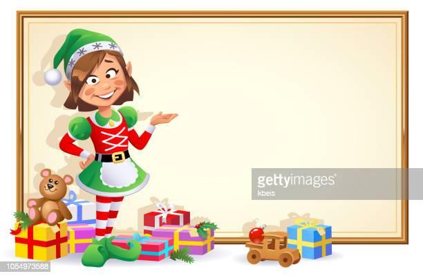 illustrations, cliparts, dessins animés et icônes de fille elfe de noël avec signe - lutin