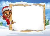 Christmas Elf Snow Scene Landscape Sign