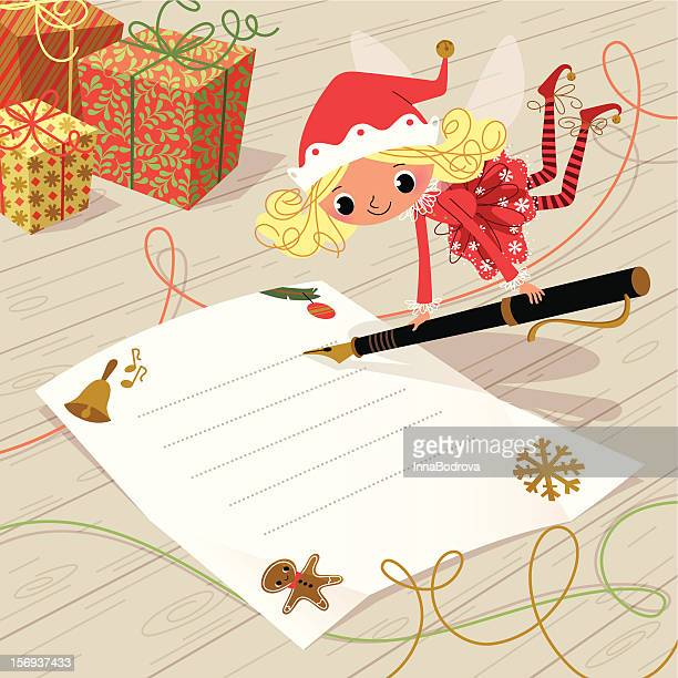 christmas elf with pen. - shopping list stock illustrations, clip art, cartoons, & icons