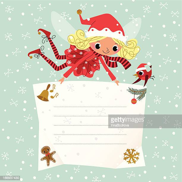 christmas elf with placard - to do list stock illustrations