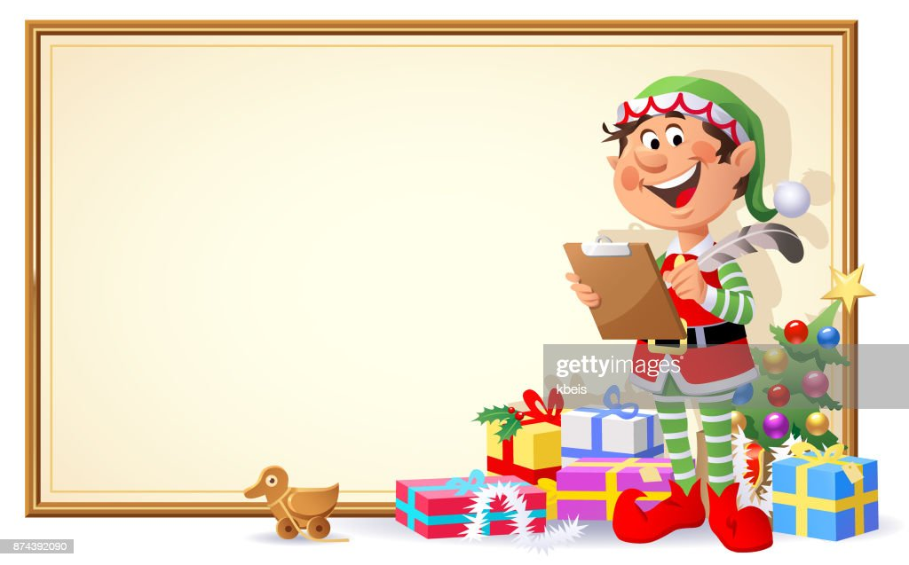 Christmas Elf With Sign : stock illustration
