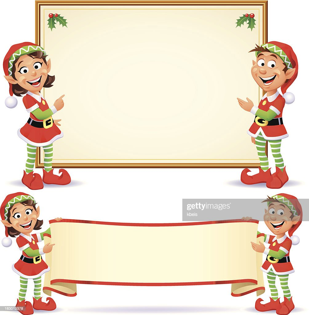 Christmas Elves Banners Vector Art Getty Images