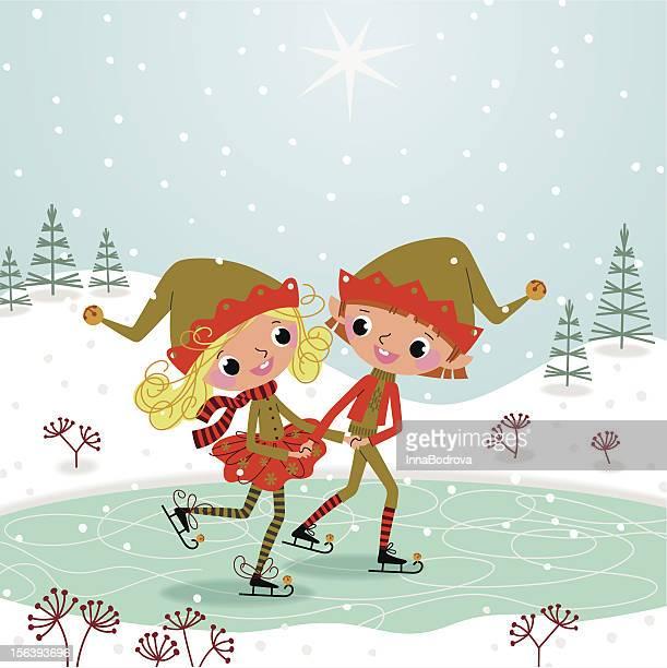 christmas elves - ice skating stock illustrations