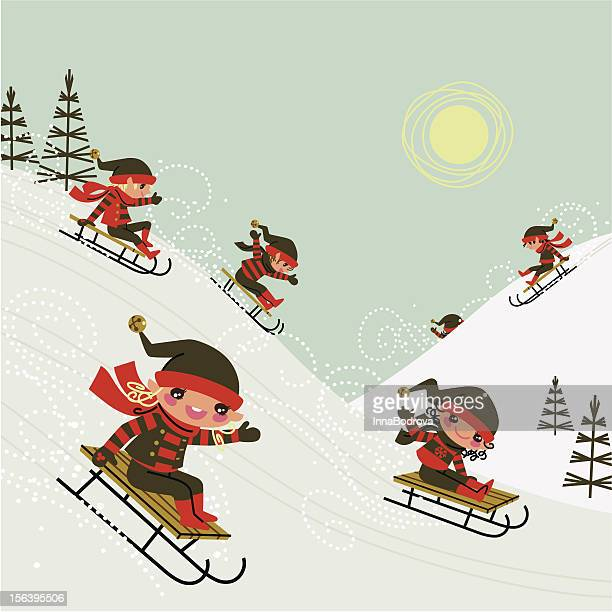 christmas elves. - tobogganing stock illustrations, clip art, cartoons, & icons