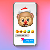 Christmas emoji Monkey in Santa's hat, holiday smile face emoticon