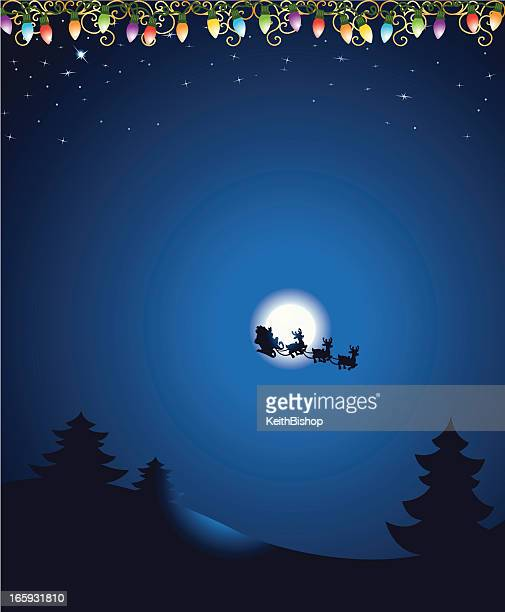 christmas eve background with santa and lights - north star stock illustrations