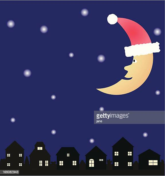 christmas eve - man in the moon stock illustrations, clip art, cartoons, & icons